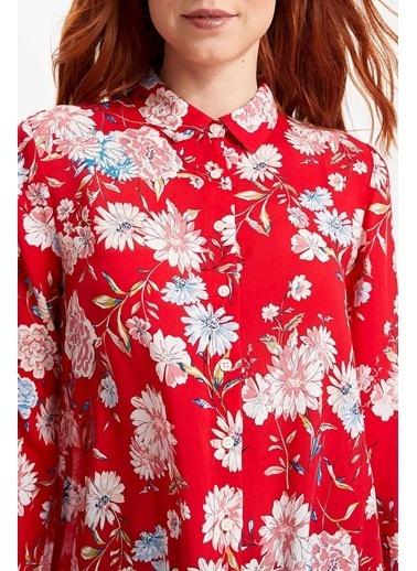 DeFacto Çiçek Desenli Uzun Kollu Gömlek Kırmızı